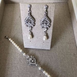 Bridal Earring and Bracelet Set